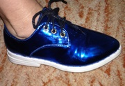 Туфли лаковые на шнуровке,  бирюза металлик